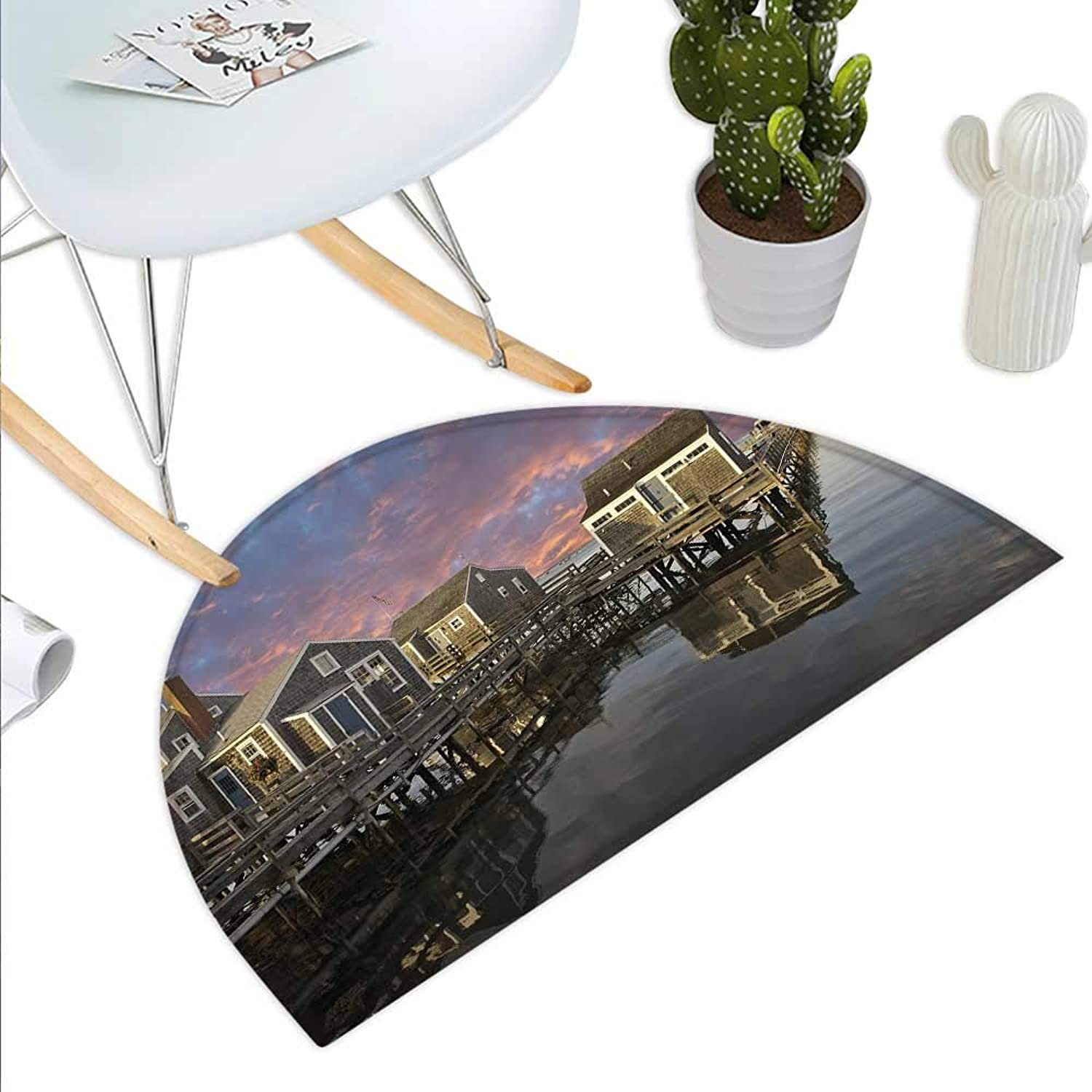 United States Semicircle Doormat Sunset Over Nantucket Massachusetts Dramatic Sky Clouds Pond Houses Halfmoon doormats H 35.4  xD 53.1  Coral bluee Sepia