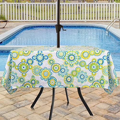 Eforcurtain Square 60 Inch Umbrella Outdoor Tablecloth with Zipper Fresh Polka Dots Floral Table Cover Water Repellent Fabric for Patio, Lime Green