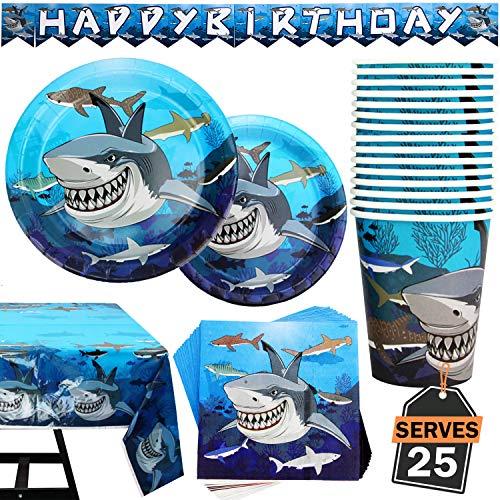 102 piezas de Accesorios de Fiesta Suministros de Pez Tiburón para Celebración Set de Pancarta, Platos, Vasos, Servilletas, Manteles, 25 Personas