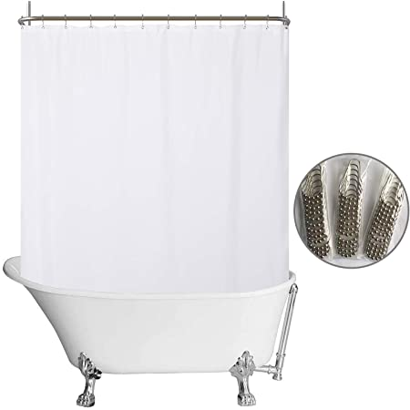 N Y Home Fabric Clawfoot Tub Shower Curtain 180 X 70 Inches All Wrap Around 36 Hooks Included Hotel Quality Washable Water Repellent Diamond Pattern White Bathroom Curtains With Grommets Furniture Decor