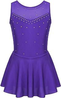 iixpin Vestido Infantil de Danza Baile sin Mangas Brillante Maillot de Patinaje Artístico Traje Bailarina Ejercicio Niñas 6-14 Años