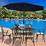 XHCP Sunshade, sunshade, umbrella <span class='highlight'><span class='highlight'>Britoniture</span></span> 2.7M Garden Parasol Umbrella Sun Shade for Outdoor Patio Balcony with Crank and Tilt Mechanism Blue