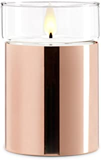 Moving Wick Flameless Wax Candle by LampLust | Rose Gold Finish Glass Removable Top Warm White LED Dancing Flame | Timer R...