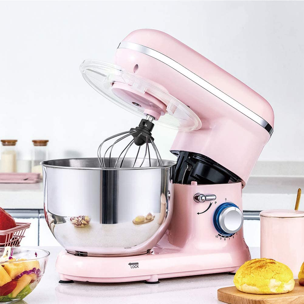 CMAO Mélangeur Vertical Multifonctionnel,Chef Machine Household Small Whisk Commercial Automatic kneading Mixing/kneading/Whipping Cream,d'or Pink