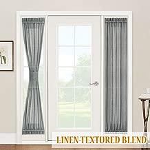 Privacy Sheer Sidelight Panel Curtains - Texture Linen Sheer Front Door Window Treatment Panels Door Shades for Kitchen Door Metal Door Entry Door, 2 Curtain Ropes, 2 Pcs, Wide 30 x Long 72, Grey