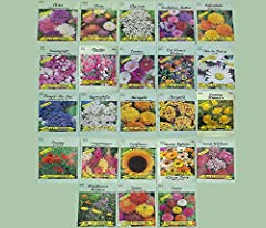 Set of 23 Valley Heirloom Green Flower Seed Packets(Guaranteed 23 Different Varieties as Listed and Pictured)