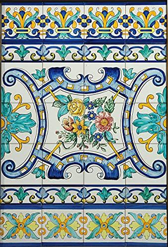 Mot. Granada con flores 0.60 x 0.90 - Ceramica Sevillana