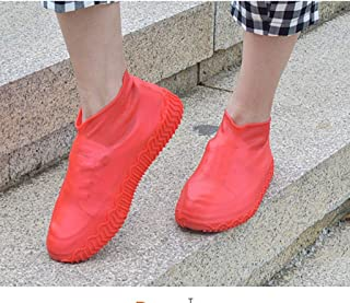 Silicone Rain Boots, Waterproof and Waterproof Folding Color Silicone Shoe Covers, Portable Non-Slip Shoe Covers LJJOO (Color : Red, Size : L)