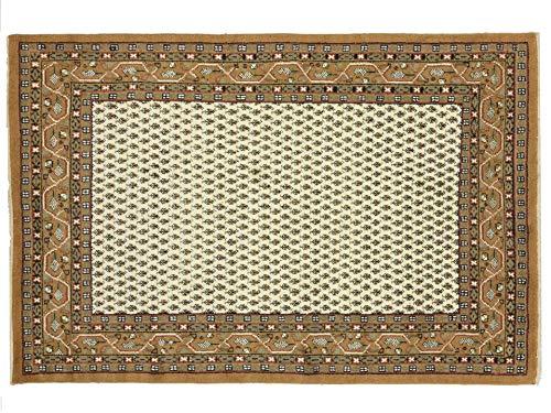 Indo Sarough Mir Beige Rot Orient Teppich Handgeknüpft 100% Schurwolle Herati Beige 300x200 cm