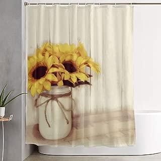 Rustic Country Sunflowers Mason Jar Bath Shower Curtain Waterproof Bathroom Decor Curtain with Hooks 60