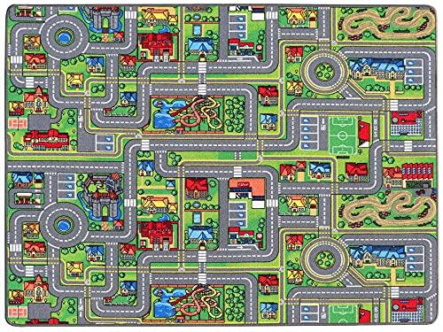 Spielteppich mit Straßen - Streets, 160x200 cm, Pflegeleicht, Fußbodenheizung Geeignet, Spielmatte, Auto-Kinderteppich für Mädchen & Jungen