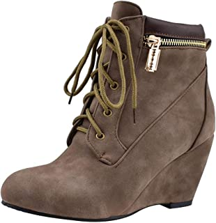 Women's Fashion Casual Outdoor Low Wedge Heel Booties Shoes Lace up Close Toe Ankle Boots