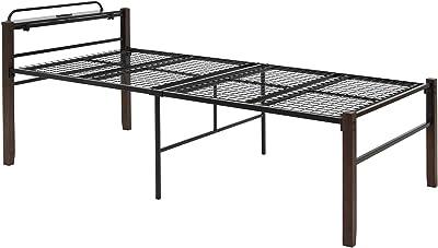 萩原 ベッド ベッドフレーム パイプベッド 収納 シングル 【便利なコンセント付宮棚セット】大容量 床下51cm ミドルベッド 天然木脚 宮棚付 ブラック KH-3097BKMS