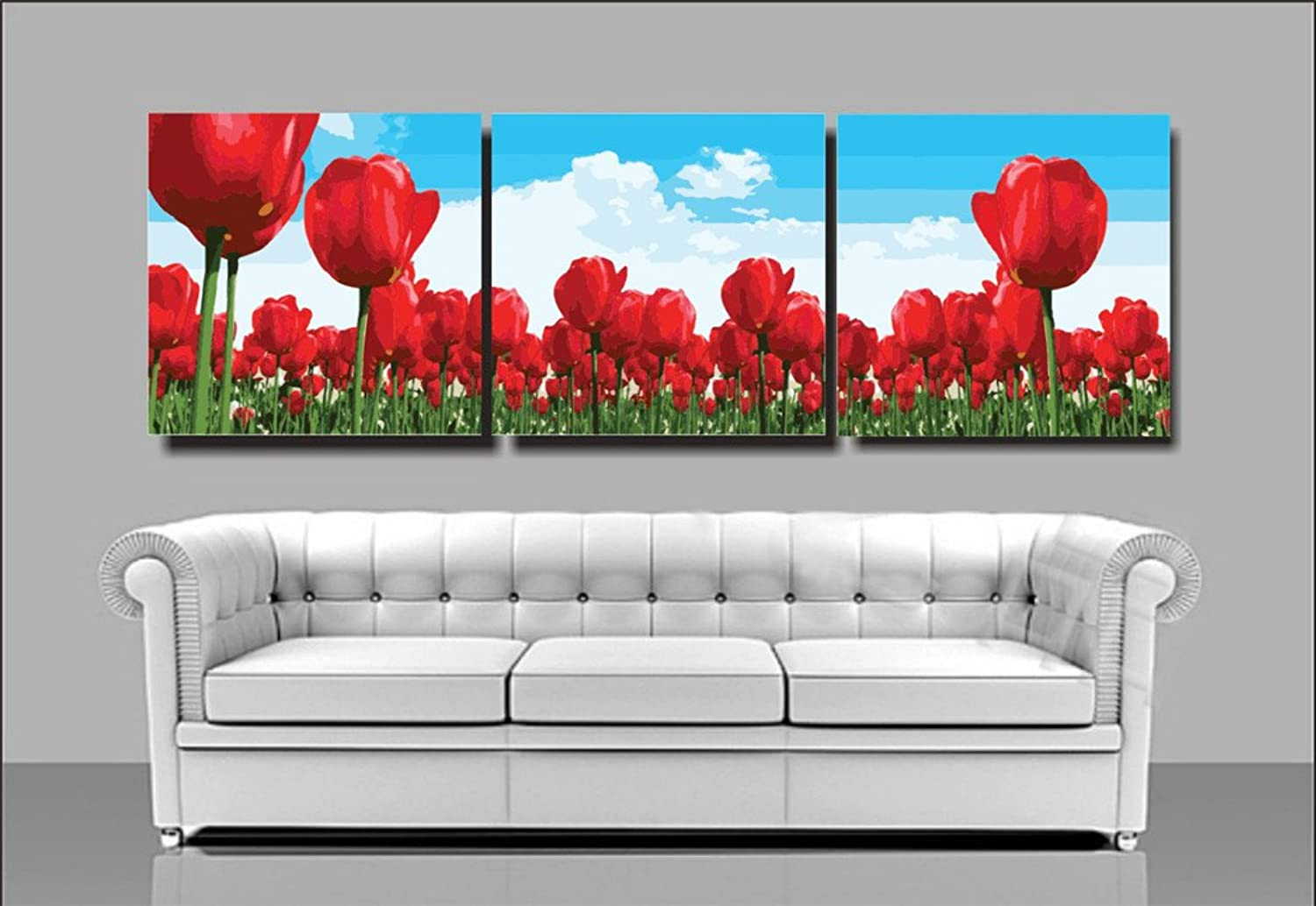 YEESAM ART New Paint by Numbers for Adults 3 Piece Pack Panel  Red Tulips Flowers 20x20 inch Linen Canvas  DIY Painting Three Pieces Multipack Wall Art (Without Frame)