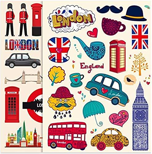 Pegatinas de Maleta Lindas británicas Pegatinas de Maleta de Viaje Maleta con Ruedas portátil monopatín Personalidad Pegatinas Impermeables 36 Piezas