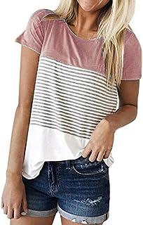 Cinnamou Camiseta para Mujer, Verano Camisetas Cortas Manga Corta Mujer Rayas Patche Color Camisas de Mujer Camisas Casual Blusas Tops T-Shirt 2018 Oferta