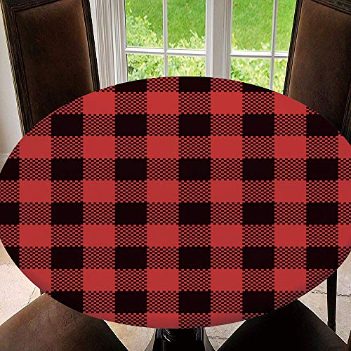 SUPNON Elastic Edged Round Tablecloth Red Buffalo Check Plaid Patterns Lumberjack Flannel Shirt Inspired Square Pixel Polyester Washable Table Cover Kitchen Restaurant Party Decoration SW00386 70'