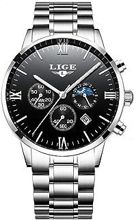 LIGE 9831 Men Watch Quartz Business Simple Wristwatch Calendar Date Hour Minute Second Display Timer 3ATM Waterproof Fashi...