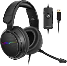 XIBERIA V20 Gaming Headset with USB Port and 7.1 Surround Sound, LED Light, Mic and Soft Earmuffs Gaming Headphone for PC Laptop Desktop