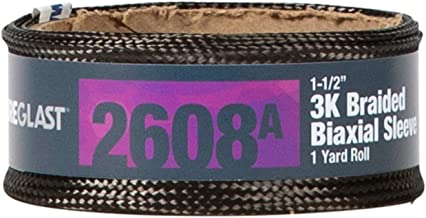 Fibre Glast - Braided Carbon Fiber Sleeve 3K - 1-1/2 Inches Wide - 1 Yard Roll