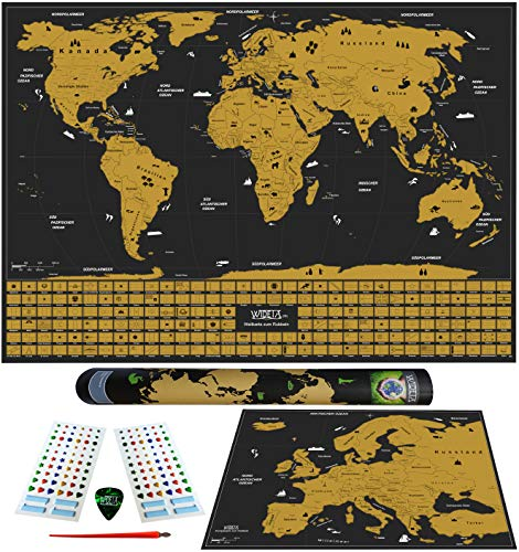 WIDETA Weltkarte zum Rubbeln in deutsch mit Länderflaggen/Bonus Europakarte & Zubehör/XL (60 x 42 cm) Gold & schwarz