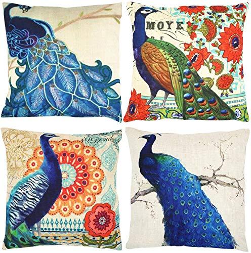 Peacock Decorative Throw Pillow Covers 18 x 18 Zoll 4er-Set, Home Decor Throw Kissenbezug Quadratische Baumwolle Leinen Kissenbezug Kissenbezüge für Couch Schlafsofa Auto (Tiermuster für Frauen Kinde