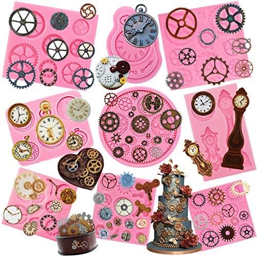 Musykrafties Silikonformen, Steampunk-Stil, für Zahnrad, Uhrrad und Uhr, Set 9-pack (1176 1181 1182 1225 2241-2244)