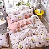 CAOCHENXI Luxusbettwäschesatz Rosa Liebesfamilienbettwäschesatz Bettbezug Kissenbezug König einfache Königin Bettwäschesatz