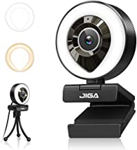 Streaming Webcam with Dual Microphone 1080P Adjustable Right Light Pro Web Camera Advanced Auto-Focus with Tripod JIGA Zoo...