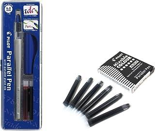 Lote 1 Pluma Caligráfica Pilot Parallel Pen plumin 6.0 mm Recargable + Caja con 6 Recambios Color Negro Pluma Pilot Parallel Pen