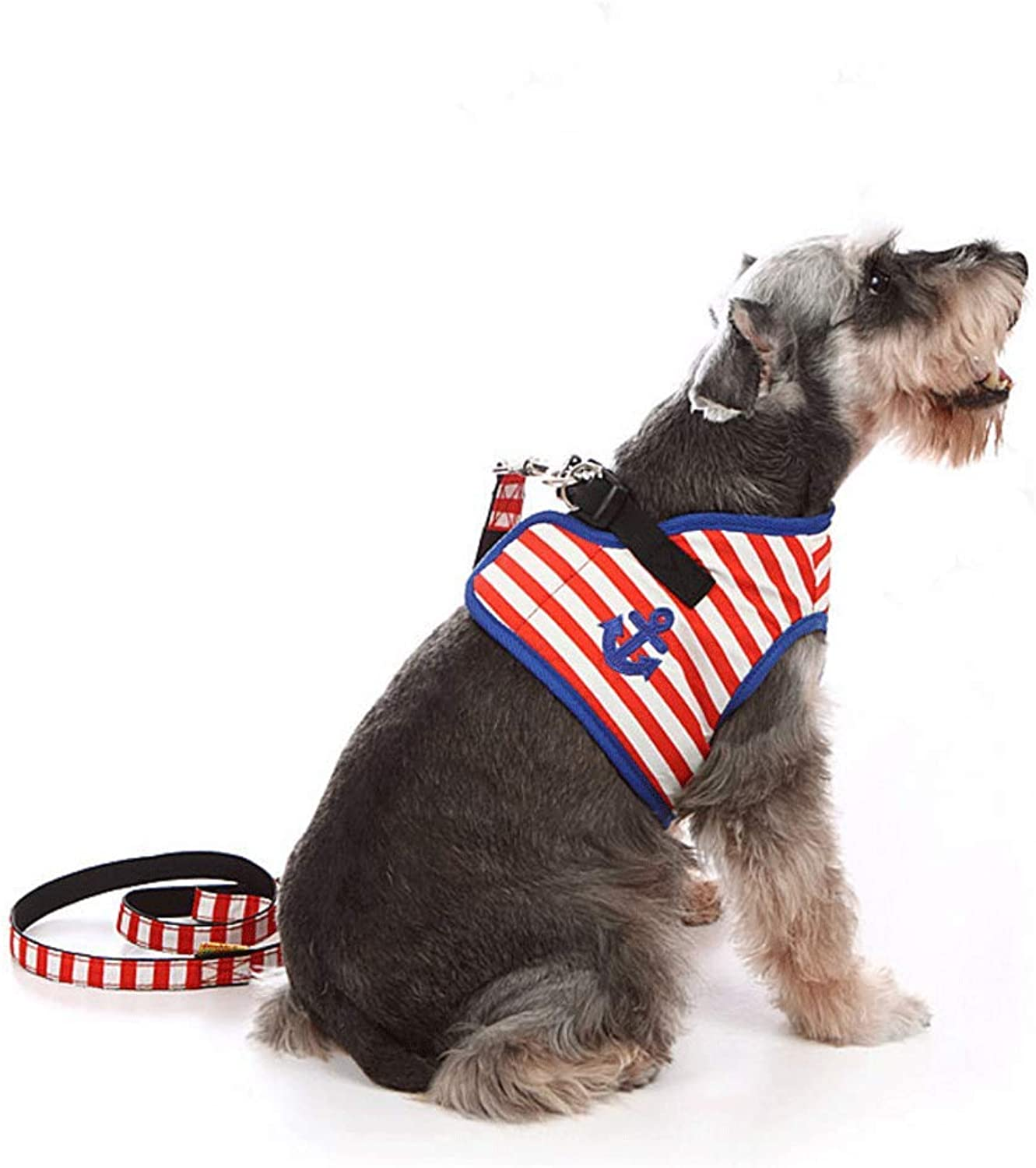 bluee Striped Pet Leash Vest Chest and Back Set Buffer Rope for Small and Medium Dogs (color   RED, Size   S)