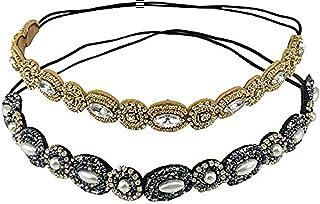 2pcs Bling con cuentas diadema elástica retro elegante cabeza tocado de la venda (oro y azul marino)