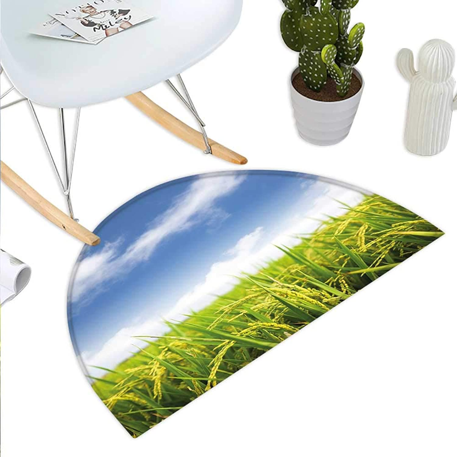 Plant Semicircle Doormat Asian Cultivated Farm Paddy Rice Field Agriculture Food Eastern Countryside Halfmoon doormats H 43.3  xD 64.9  Sky bluee Apple Green