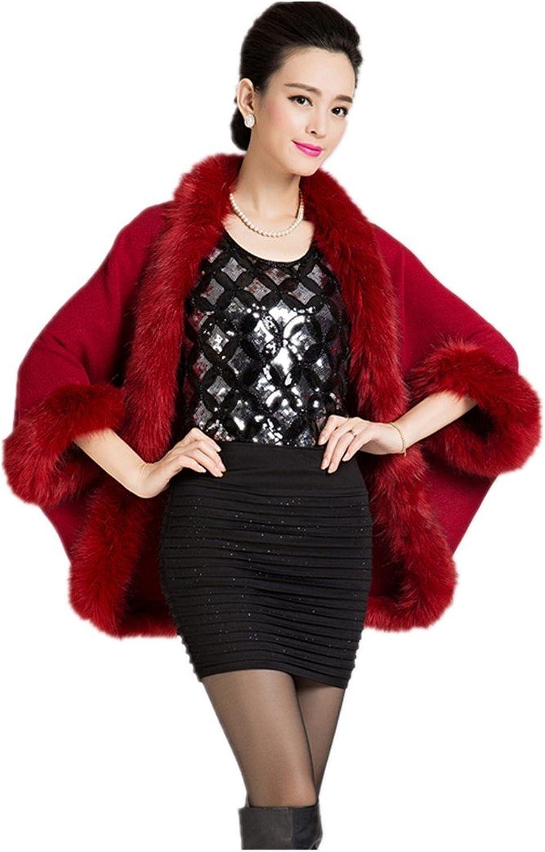 Hot Autumn and winter new women 's fashion fur coat knit cape cardigan shawl coat