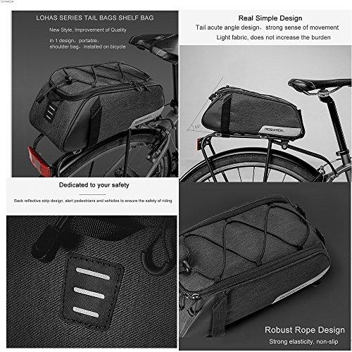 Roswheel Fahrradtasche Fahrrad Satteltasche Gepäcktasche Gepäckträger Tasche Rucksack Seitentasche 7L Schultertaschen Reflektierender(2018 Neuer Stil) - 4