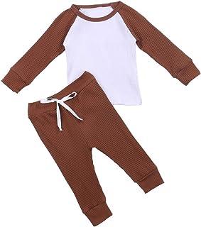 Ropa de otoño para niños pequeños pantalones de manga larga traje acanalado patchwork camiseta y elástico vendaje pantalon...