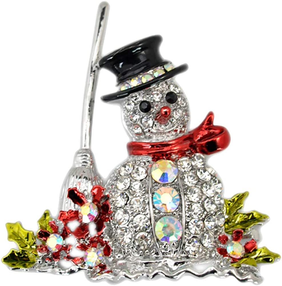 andy cool 1X Womens Ladies Rhinestone Snowman Elegant Fashion Brooch Pin Costume Accessory Jewellery for Gift