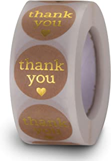 2.5cm Thank You Stickers - MRIMAYA Round Kraft Thank You Stickers Seals, Adhesive Labels 500 Piece Per Roll, Thank You Lab...