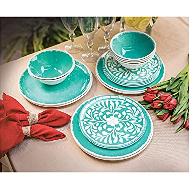 Melamine 18-PC dinnerware Set, Teal Mother of Pearl Design