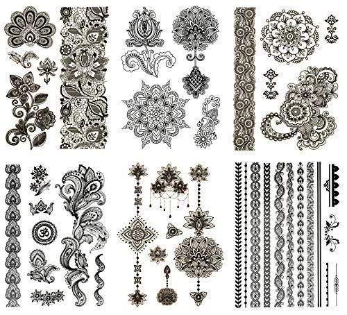 Terra Tattoos Temporary Henna Tattoos - 50 Black Mehndi Temp Tattoos