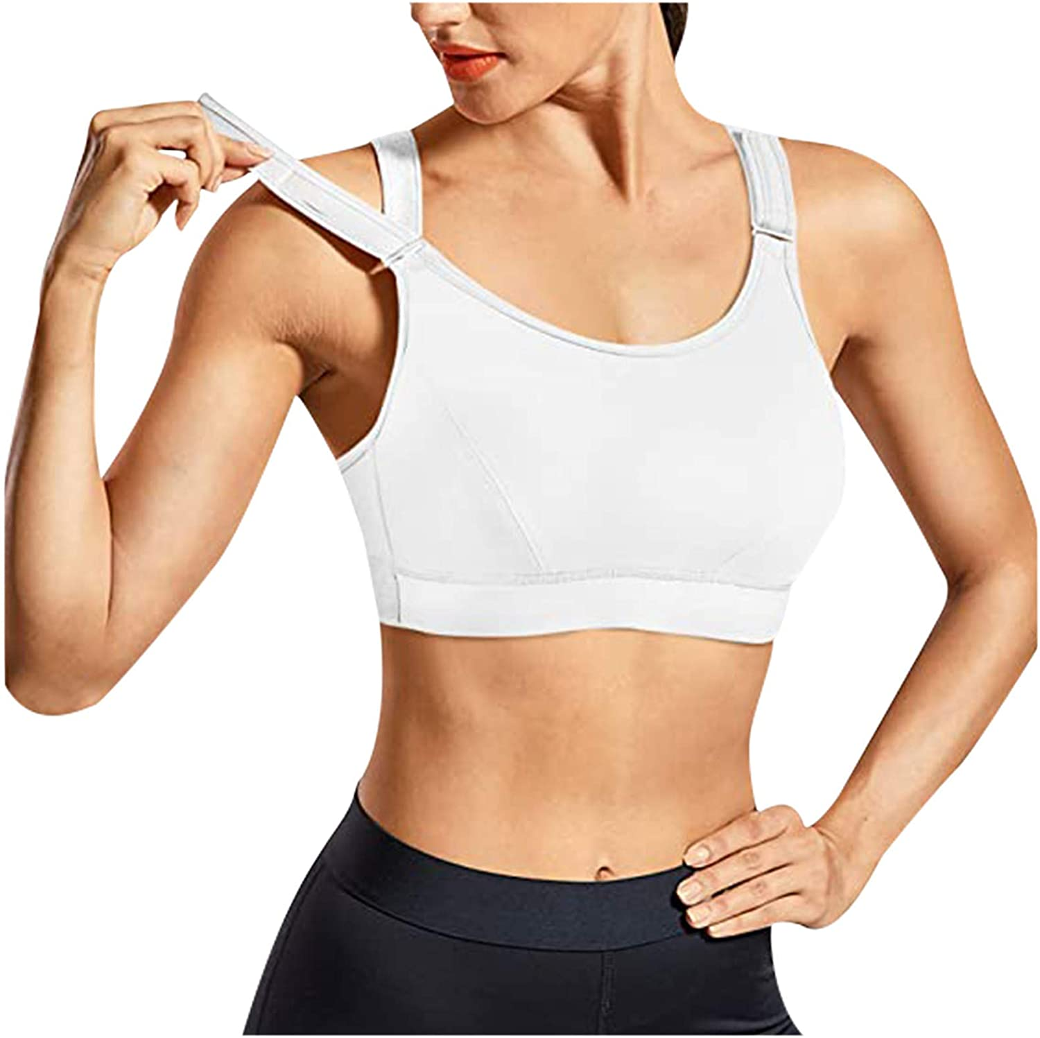 ZAKIO Women Padded Lingerie Sport Bra Fitness Workout Shirts Yoga Tank Top Running Gym Vest Solid Casual Blouse White