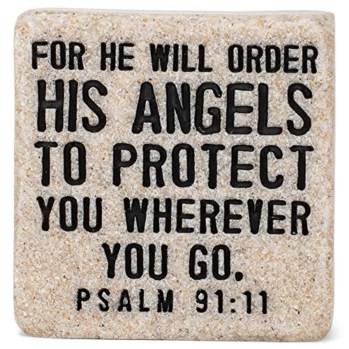 Lighthouse Christian Products His Angels Will Protect Scripture Block 2,25 x 5,25 cm Placa de pedra fundida