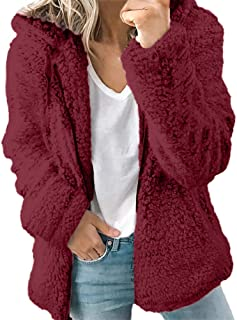 4c30e3d287b Ulanda Women s Long Sleeve Thick Hooded Open Front Cardigan Autumn Winter  Warm Fuzzy Fleece Jacket Coat