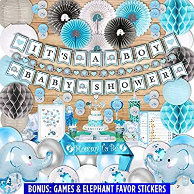 253 Piece Blue Elephant Baby Shower Decorations for Boy Kit - It's a BOY Pre-Strung Banners Garland Guestbook Sash Balloons Cake Toppers Paper Fans Lanterns Napkins Straws Games & Thank You Stickers