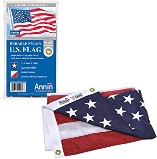 Annin Flagmakers Model 2460 American Flag Nylon SolarGuard NYL-Glo, 3x5 ft, 100% Made in USA with Sewn Stripes, Embroidered Stars and Brass Grommets