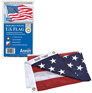 Annin Flagmakers Model 2460 American Flag 3x5 ft. Nylon SolarGuard NYL-Glo, 100% Made in USA with Sewn Stripes, Embroidere...