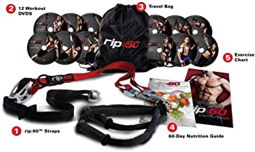 RIP 60 Slingtrainer Sling Trainer Bodyweight Fitness Resistance Straps Trainer 12 DVD's, oefenposter, oefendiagram en voed...