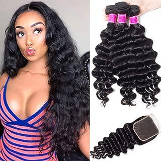 RECOOL 10A Brazilian Hair Loose Deep Wave Bundles with Closure Virgin Human Hair Bundles and Closure Ocean Wave Natural Color Real Good Quality Hair(20 22 24+18)