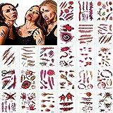 YANGJI 30 hojas Halloween Tatuajes Temporales,Halloween Zombie Scars Tattoos Stickers,Realista Horror Tatuaje temporal, para niños y adultos,decoración de cosplay de zombis.