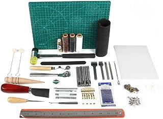 LaceDaisy 61 Pcs Kit Outils Cuir Outil de Bricolage Kit Couture DIY Artisanat Maroquinerie Poinçon Outillage Drilling Cuir...